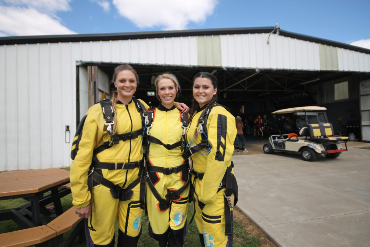Tandem Skydiving in jumpsuits in Oklahoma.