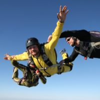 aff skydiving student with 2 instructors