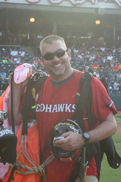 photo of andy beck in redhawks stadium