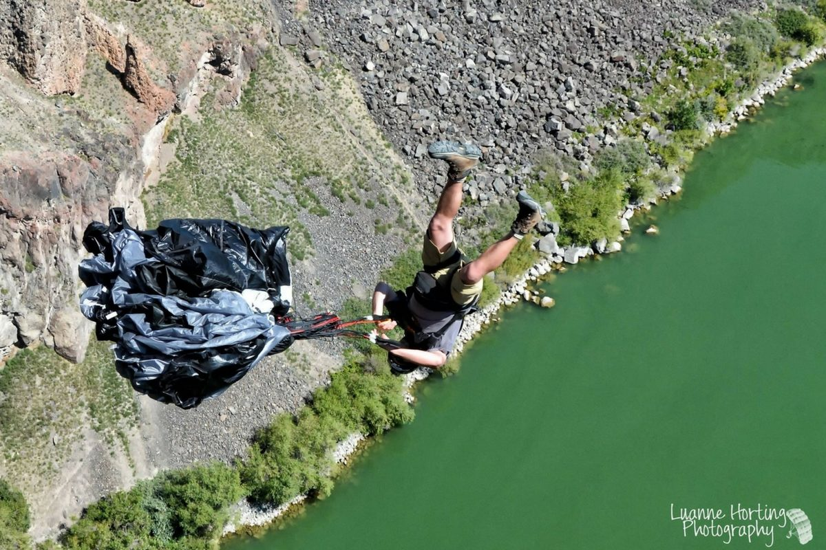 base jumping over river