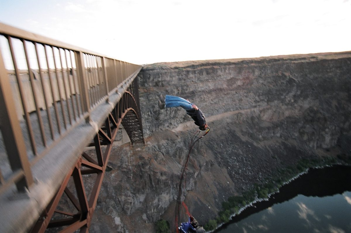 base jumping off of a bridge