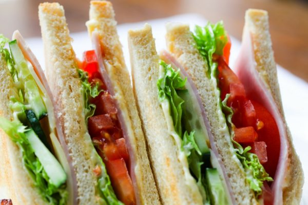 close-up photo of deli sandwich