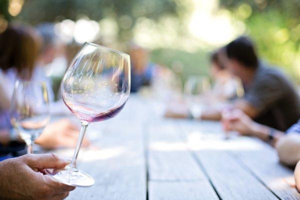 empty wineglass at winery